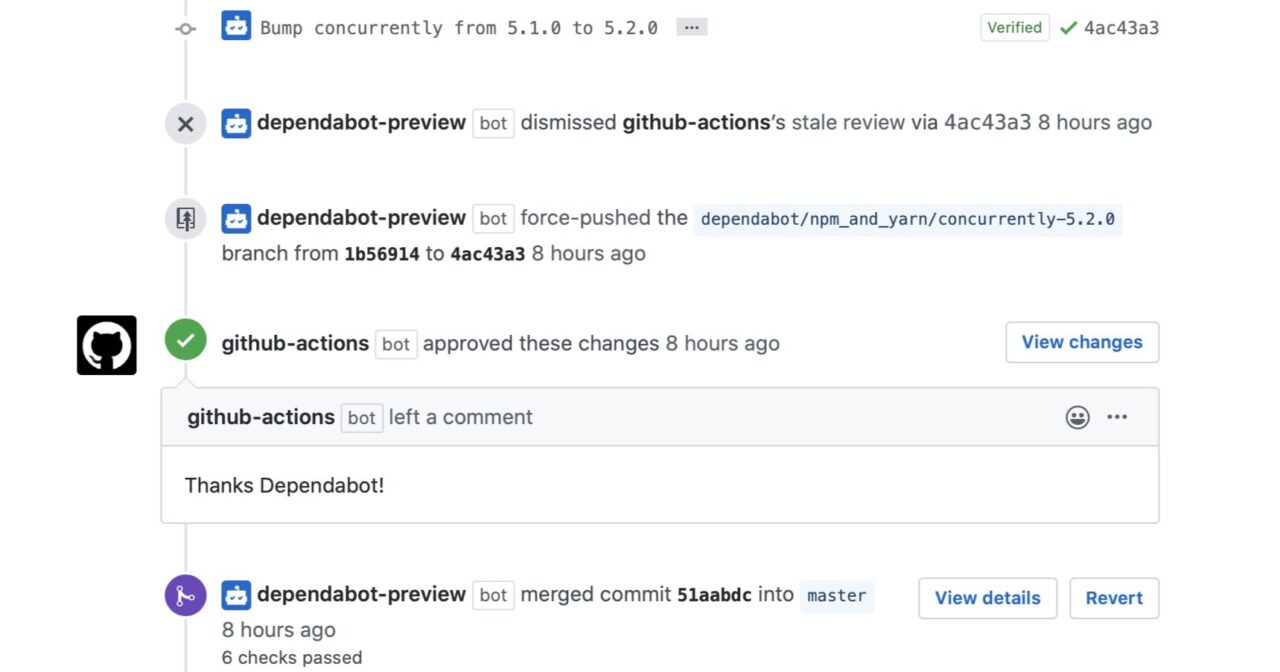 An example of the automated conversation between dependabot and github actions - Delio's automated dependancy updates