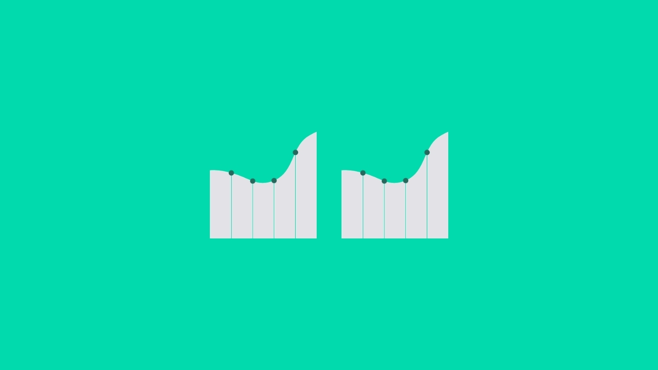 Two bar charts and graphs next to each other on turquoise background